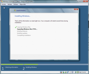 3. Ilustrace: Probíhající instalace Windows 8